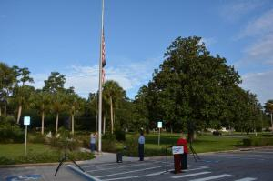 FDOT's District Two Northeast Florida employees at Lake City's district office gather at 8:46 a.m. on September 11, 2015 to remember the events of 9/11.