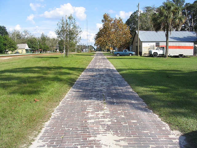 A remnant of brick highway from the Old Spanish Trail in Suwannee County.