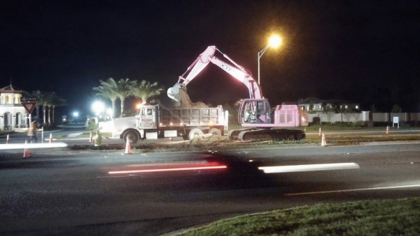 Pinky pink excavator construction truck vehicle FDOT breast cancer awareness month october