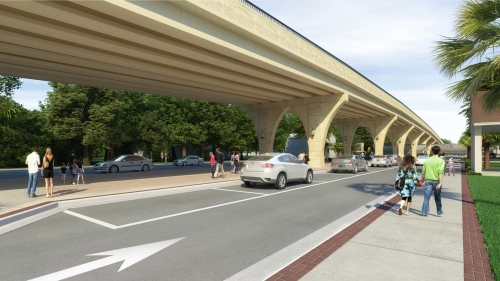 Artist's rendering of one of the potential designs for the Starke railroad overpass on State Road 100.