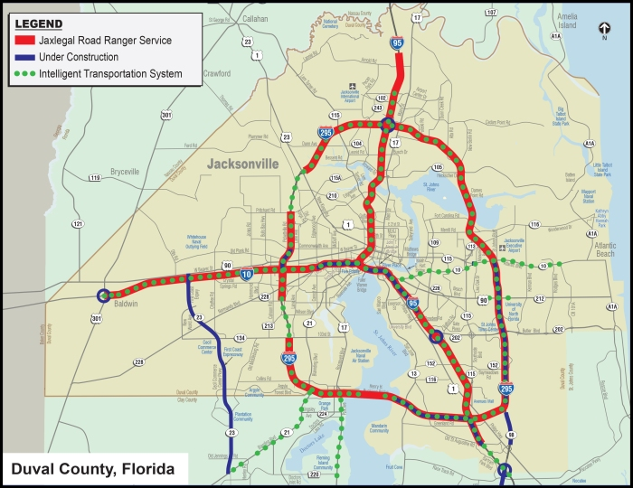 Construction around the Jacksonville area and areas for Road Ranger coverage if one is stranded on the Interstate system.