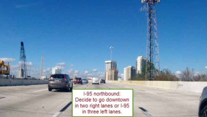 I-95 northbound in downtown Jacksonville where decisions must be made to be in the right two lanes for downtown or in the left three lanes for I-95 northbound.