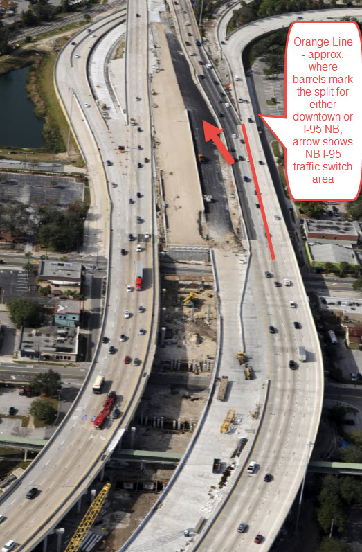 I-95 northbound motorists should exercise caution approaching the split for downtown Jacksonville or I-95 northbound. Expect orange barrels to be in place to deter any last minute lane changes.