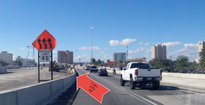 I-95 northbound traffic should prepare to shift left approaching the FEC Railroad overpass, just past the downtown exits.