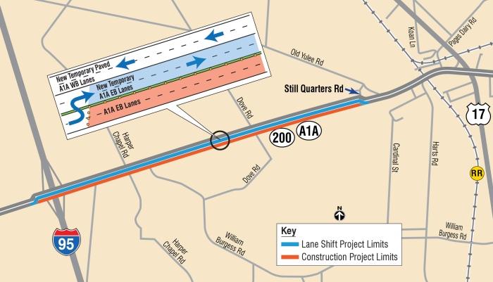 SR A1A Traf Shift_Yulie map_EastBound