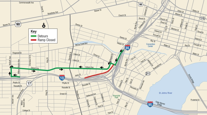 I-95 to I-10 WB Detour Map